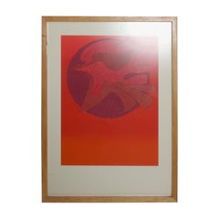Pedro Coronel Abstract Dove Modern Art Lithograph in Red