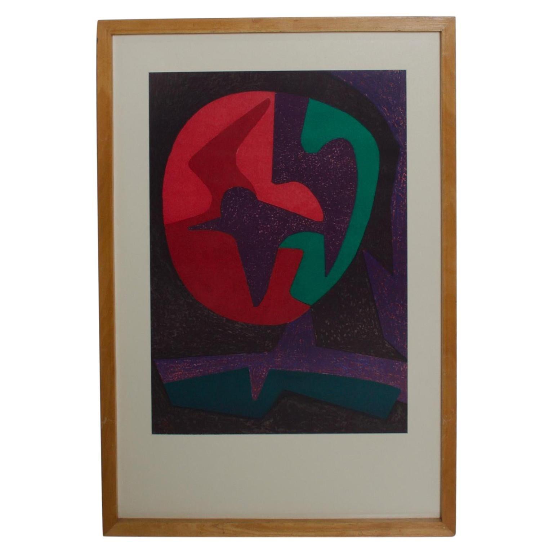Pedro Coronel Colorful Modern Dove Abstract Lithograph Purple