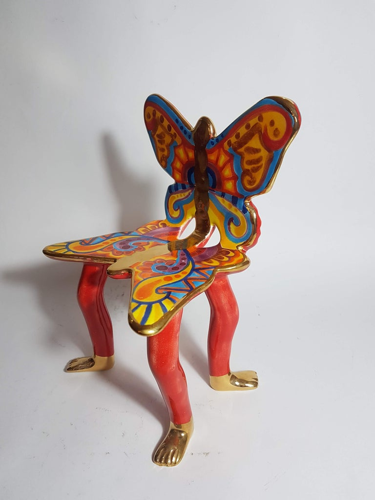 Modern Pedro Friedeberg Ceramic Butterfly Chair Sculpture For Sale