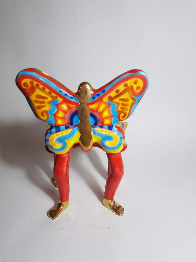 Mexican Pedro Friedeberg Ceramic Butterfly Chair Sculpture For Sale