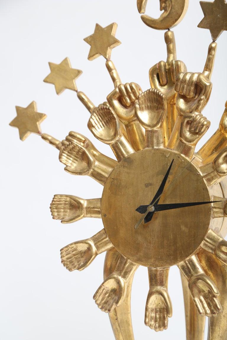 Gilt Pedro Friedeberg Clock For Sale