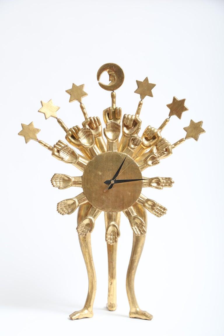 Wood Pedro Friedeberg Clock For Sale