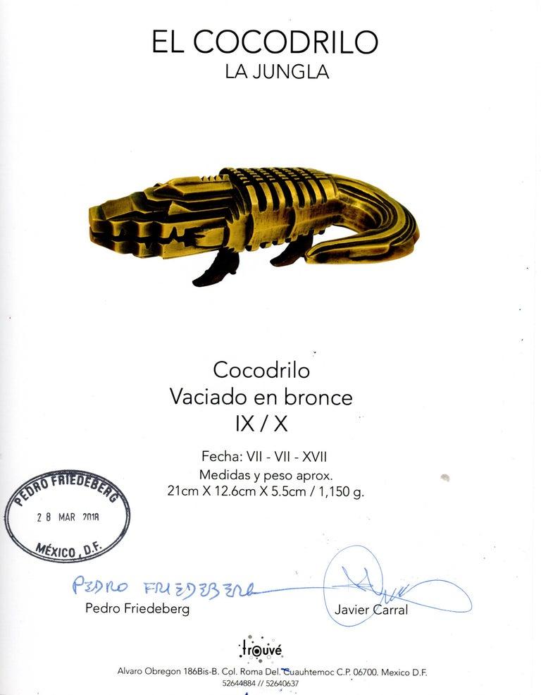 Pedro Friedeberg Crocodile Bronze Sculpture For Sale 1