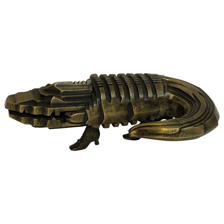 Pedro Friedeberg Crocodile Bronze Sculpture For Sale