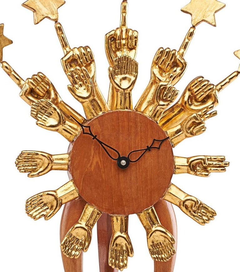 Mid-Century Modern Pedro Friedeberg Exceptional Surrealist Carved Clock, Gilt Wood, Mexico 1970s   For Sale