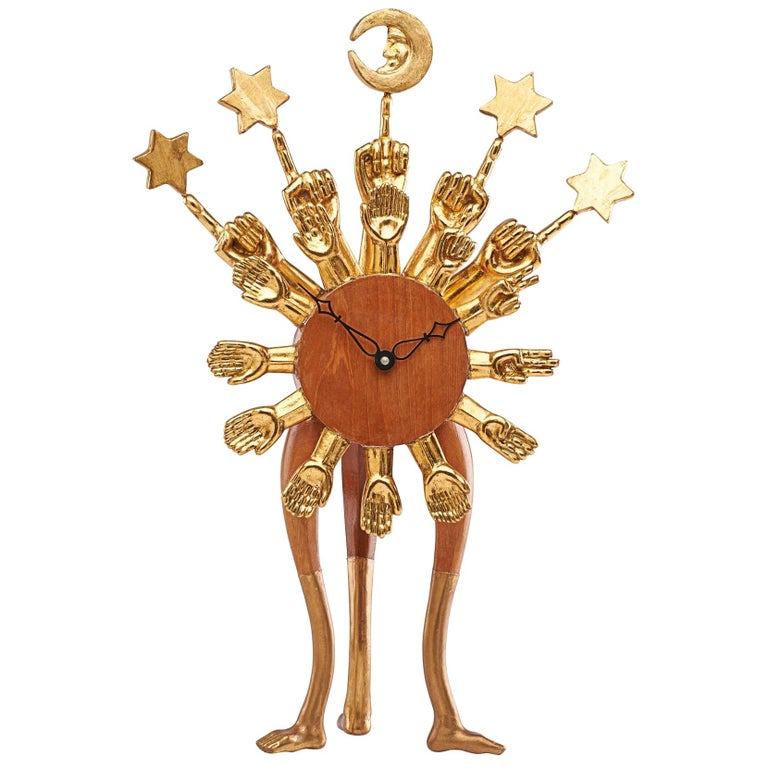 Pedro Friedeberg Exceptional Surrealist Carved Clock, Gilt Wood, Mexico 1970s   For Sale