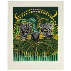 """Pedro Friedeberg """"Jaguares"""" Silkscreen Art Unframed"""