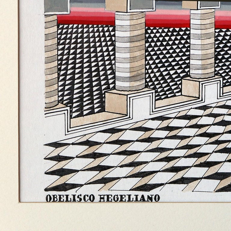 Mexican Pedro Friedeberg Painting Obelisco Obelisco Hegeliano