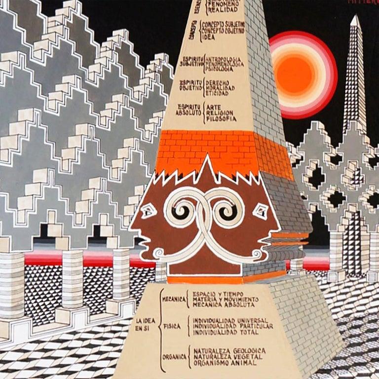 Painted Pedro Friedeberg Painting Obelisco Obelisco Hegeliano