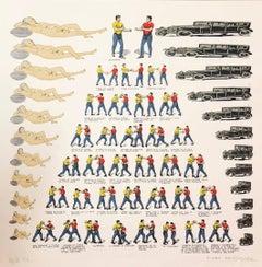 Mexican Modernist Master Surrealist, Ziggurat Boxers, Nudes, Silkscreen Print