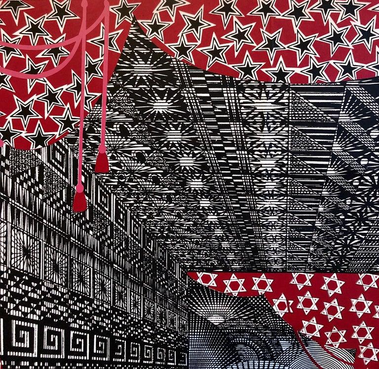 Mexican Modernist Surrealist Ziggurat Hebrew Alphabet Judaica Silkscreen Print 4