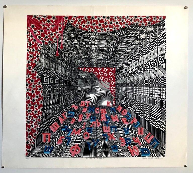 Mexican Modernist Surrealist Ziggurat Hebrew Alphabet Judaica Silkscreen Print 6