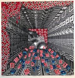 Mexican Modernist Surrealist Ziggurat Hebrew Alphabet Judaica Silkscreen Print