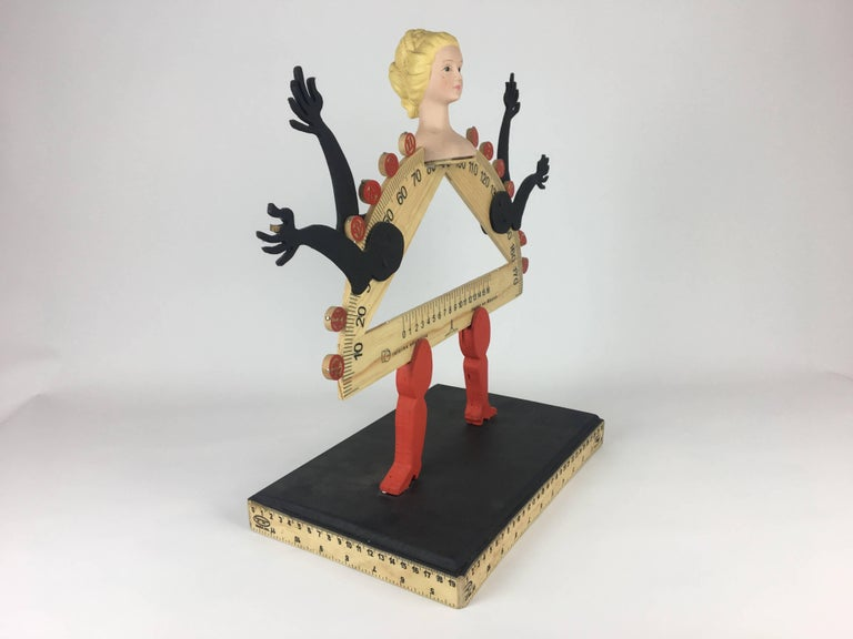 Rare Pedro Friedeberg sculpture made in wood and resin. Sealed on back.  Pedro Friedeberg is a Mexican artist and designer known by his surrealist work filled with lines and colors, as well as ancient and religious symbols. His best known piece is