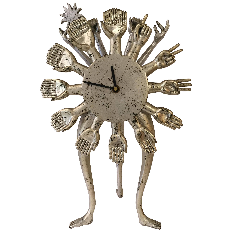 Pedro Friedeberg Silver Gilt Vintage Hand Clock