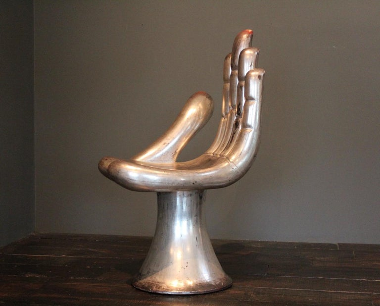 Pedro Friedeberg Silver Leaf Hand Chair In Good Condition For Sale In Dallas, TX