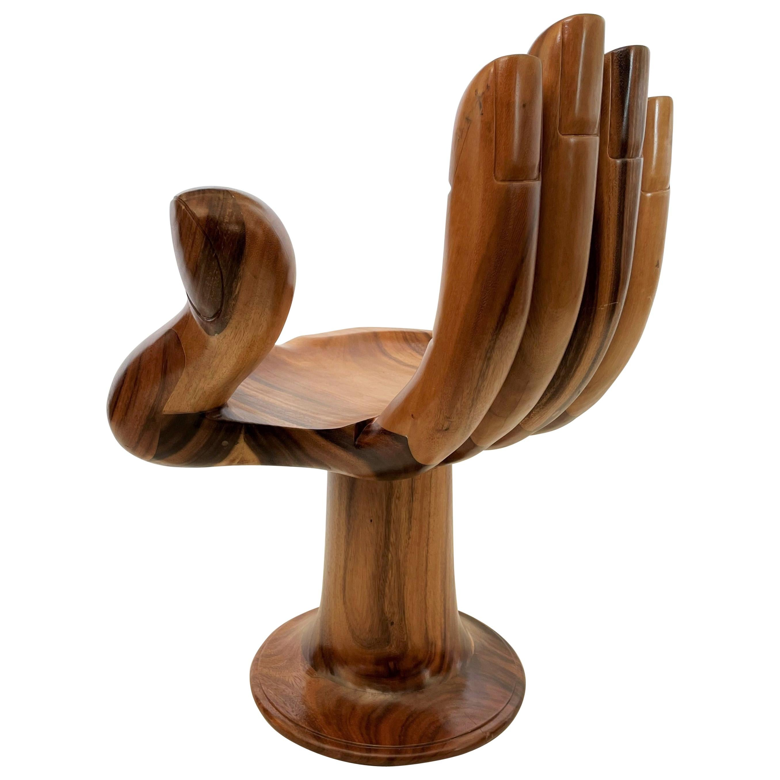 Pedro Friedeberg Style Carved Hand Chair Sculpture