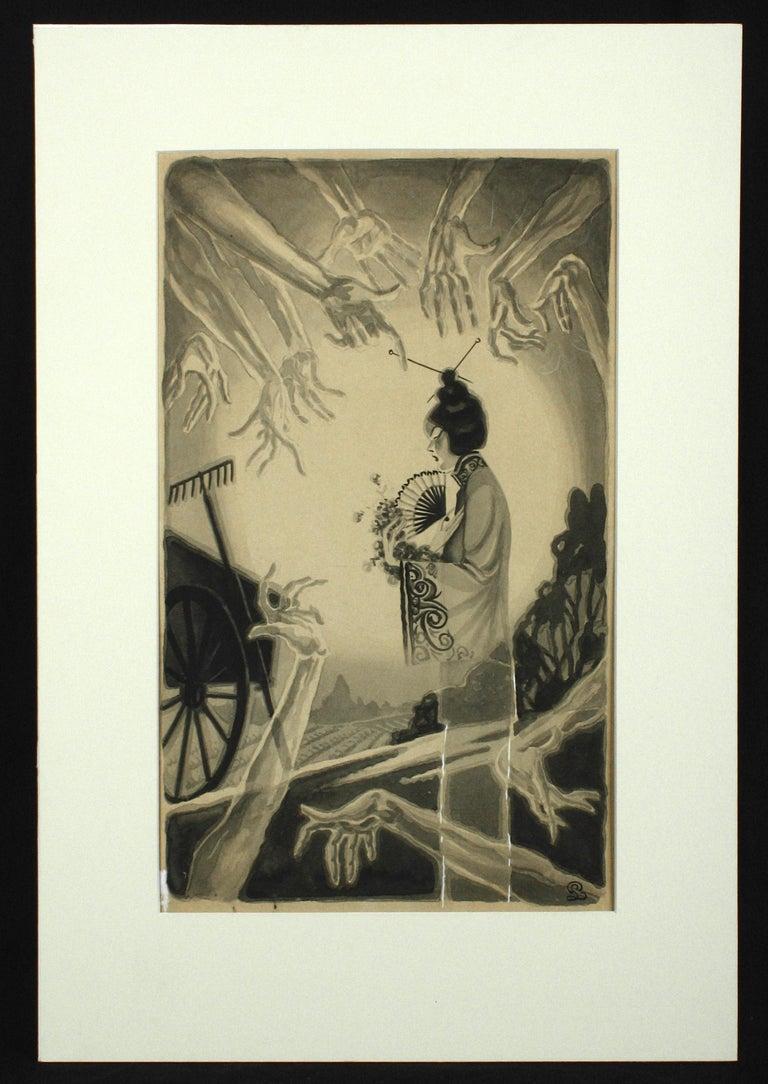 San Francisco Tong War Illustration - Art Deco Painting by Pedro Llanuza