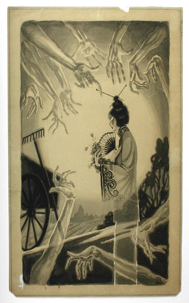 San Francisco Tong War Illustration - Brown Figurative Painting by Pedro Llanuza