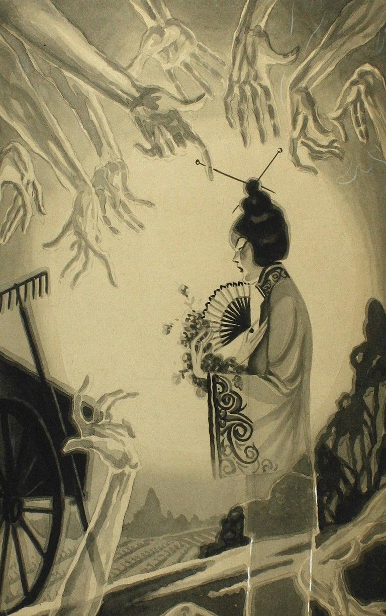 Pedro Llanuza Figurative Painting - San Francisco Tong War Illustration