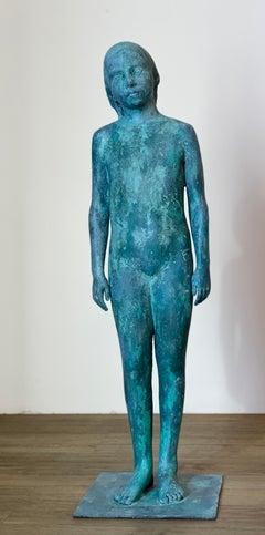 Girl, standing- 21st Century Contemporary Bronze Sculpture of a standing Girl