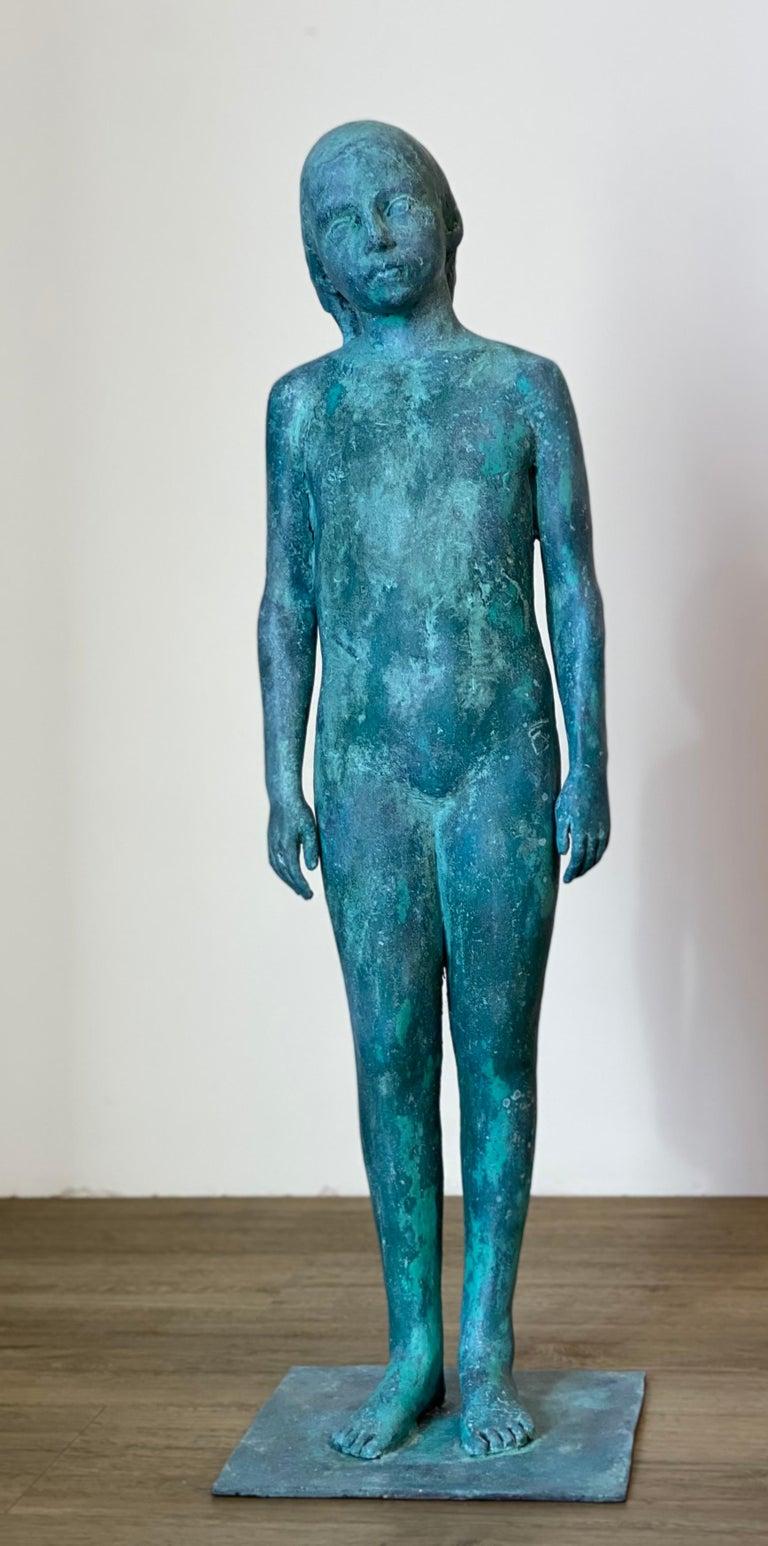 Pedro Quesada Sierra Figurative Sculpture - Girl, standing- 21st Century Contemporary Bronze Sculpture of a standing Girl