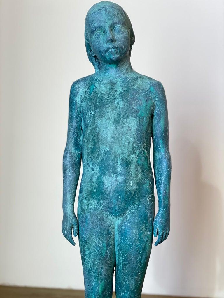 Girl, standing- 21st Century Contemporary Bronze Sculpture of a standing Girl - Gold Figurative Sculpture by Pedro Quesada Sierra