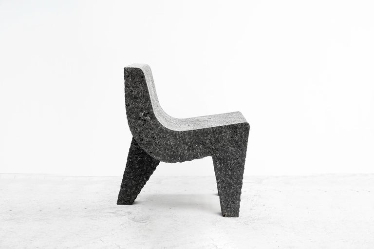 """Pedro Reyes   Chair model """"Metate II"""" From Tripod series Manufactured by Pedro Reyes Mexico, 2018 Volcanic stone  Measurements 45 cm x 58 cm x 79h cm 17.71 in x 27.51h in  Concept Tripod Series is based in Mexican tribal objects. Most"""