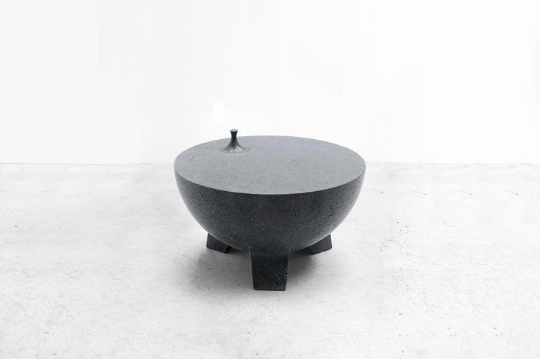 Molcajete Table (Mortar Table) From Series Tripod Manufactured by Pedro Reyes Produced Exclusively for Side Gallery Mexico, 2018 Volcanic stone.