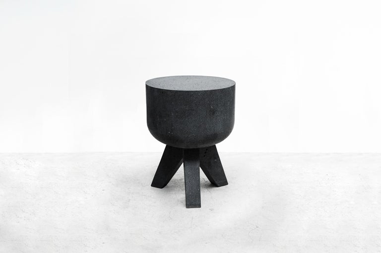 Tripod table From Series Tripod Manufactured by Pedro Reyes Produced Exclusively for Side Gallery Mexico, 2018. Volcanic stone.
