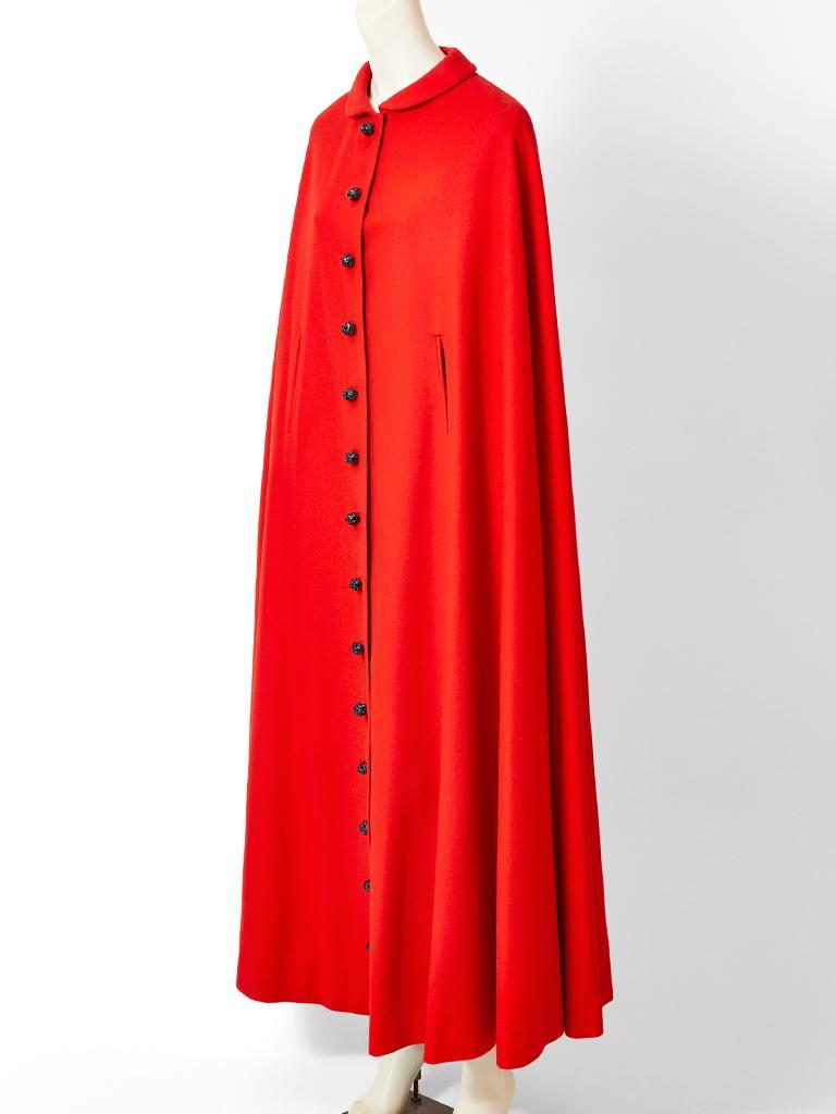 Red Pedro Rodriquez Wool Cape For Sale