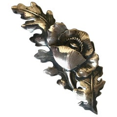Peer Smed Large Sterling Silver Flower and Leaf Brooch