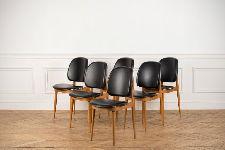Naugahyde 'Pegase' Chairs by Pierre Guariche, France, 1960s For Sale