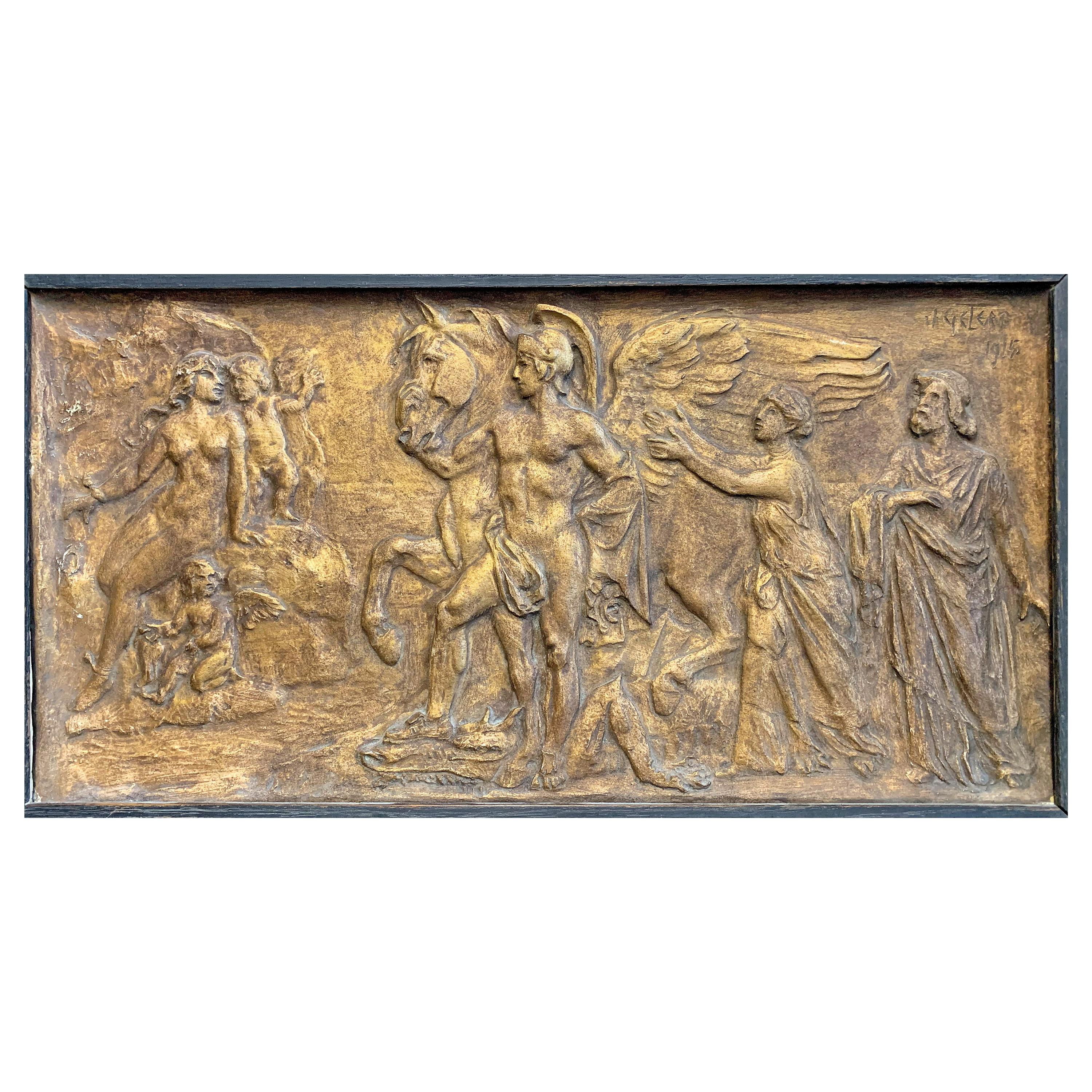 """""""Pegasus and Bellerophon,"""" Lovely, Belle Epoch Gilded Bas Relief Panel by Gelert"""