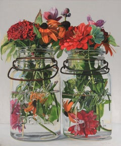 Red Flowers in Clear Jars