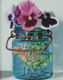 Small Blue Jar with Three Pansies