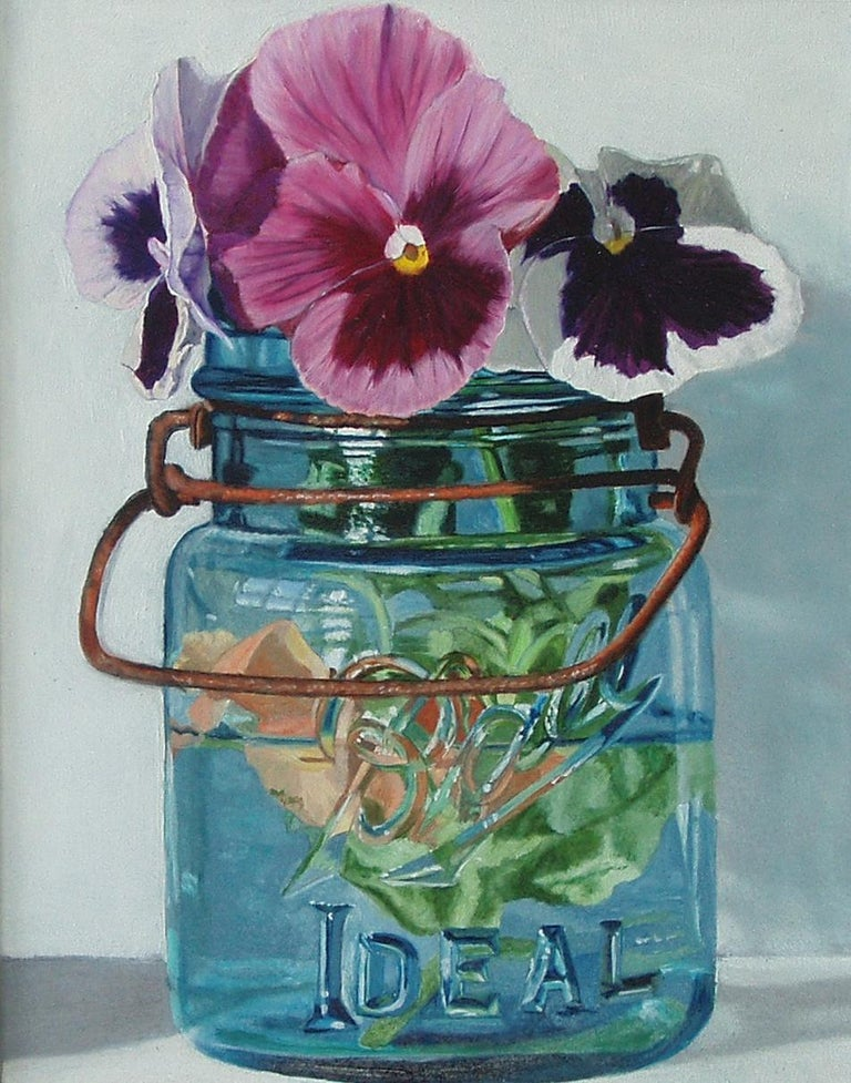 Peggie Blizard Still-Life Painting - Small Blue Jar with Three Pansies