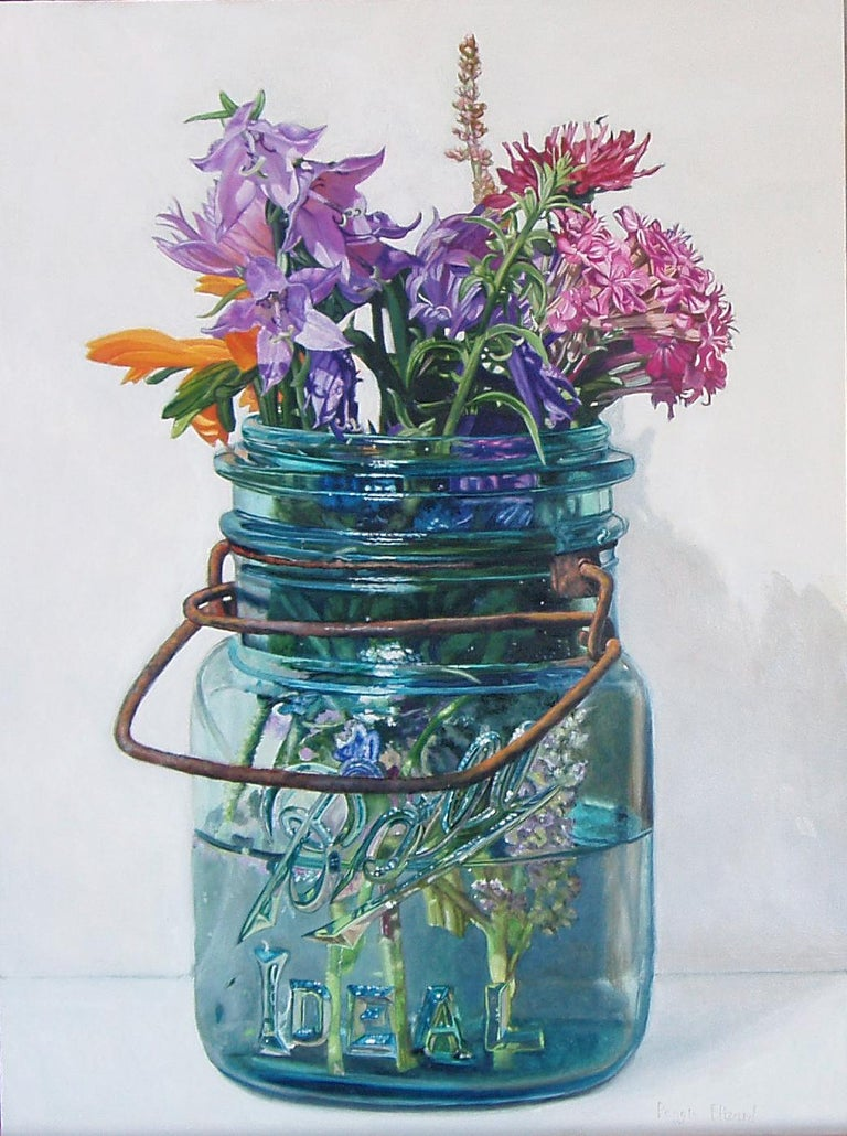 Peggie Blizard Still-Life Painting - Summer Flowers with Lavender Bells