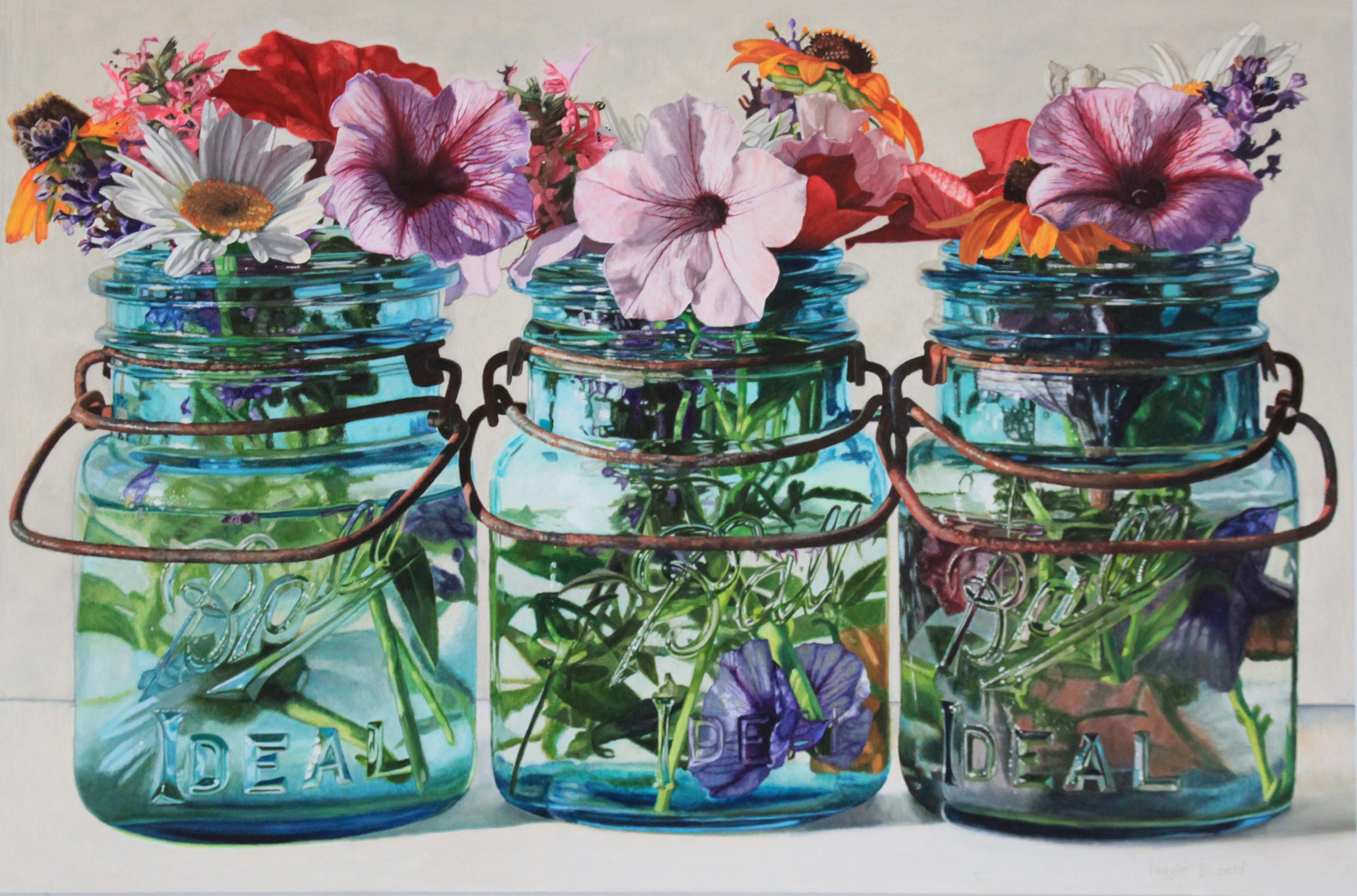 Three Jars with Petunias