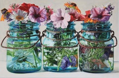 Three Jars with Petunias
