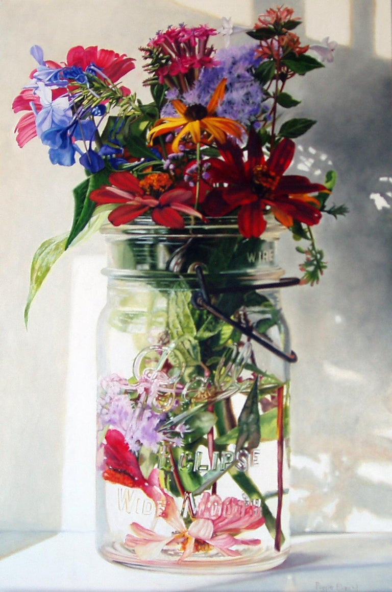 Peggie Blizard Still-Life Painting - Three Red Zinnias