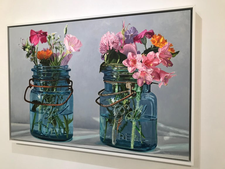 Two Blue Jars with Pink Flowers - Painting by Peggie Blizard