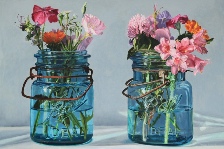 Peggie Blizard Still-Life Painting - Two Blue Jars with Pink Flowers