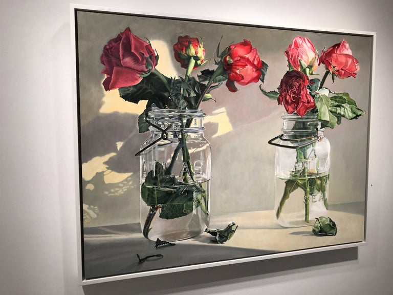 Wilted roses - red - Painting by Peggie Blizard