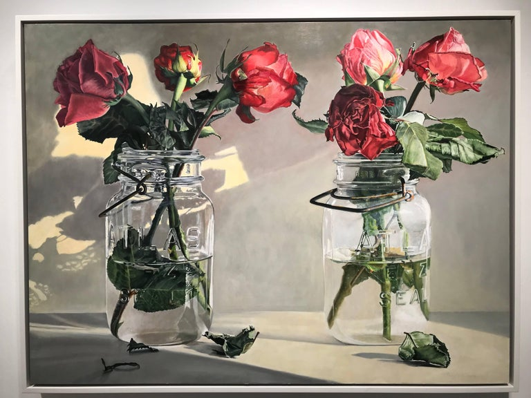 Wilted roses - red - American Realist Painting by Peggie Blizard