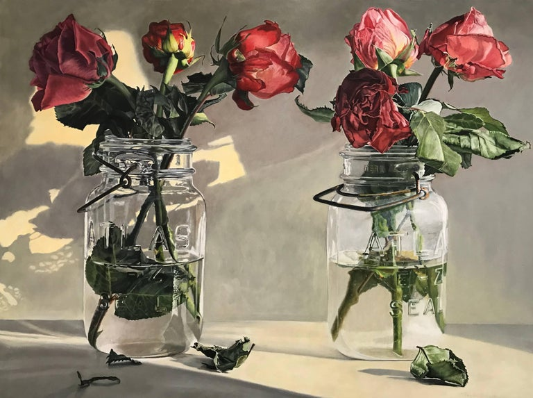 Peggie Blizard Still-Life Painting - Wilted roses - red