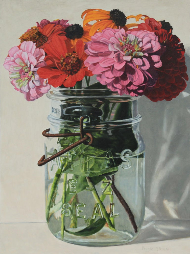 Peggie Blizard Still-Life Painting - Zinnieas in a Jar