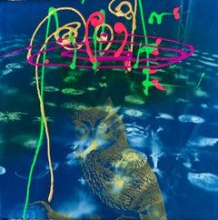 "Labyrinth Lullaby""  (Acrylic, spray paint, silkscreen and cyanotype on fabric )"
