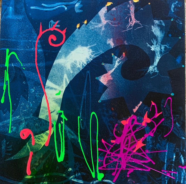 """Peggy Cyphers Abstract Painting - """"Whale Song"""" Abstract cyanotype (Acrylic, spray paint, leafing on canvas)"""