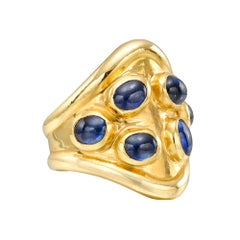 "Peggy Guinness 22 Karat Yellow Gold and Sapphire ""Cowboy"" Ring"